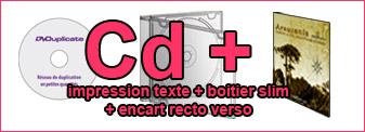 Duplication Cd mono-couleur dans boitier cd slim avec encart