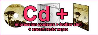 Duplication de 200 Cd couleurs dans boitier Cd slim avec encart
